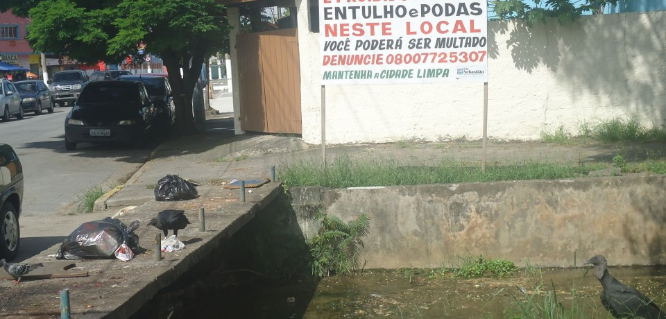 Lixo na ponte é problema na Vila Amélia